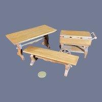 Vintage Doll Miniature Furniture Dollhouse Artist Set Charles M. Graves Table Bench Rolling Tea Car Folds