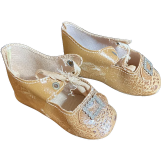 Antique Doll Shoes Oil Cloth W/ Bows Buckel Bow Heels