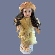Antique French Bisque Doll TeTe Jumeau Closed Mouth Antique Doll Dress W/ Original Tag On Body