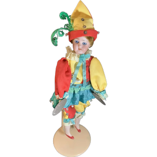 Antique Bisque Doll German Polichinelle Cymbal Player Works!! Wonderful Simon & Halbig