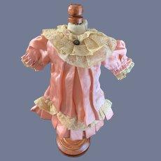 Antique Doll Dress Pink Silk Drop Waist Lace French Market