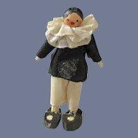 Wonderful Miniature Wood Doll Dollhouse Jester Pegged Dressed Unusual