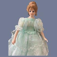 Wonderful Miniature Porcelain Glass Eyes Dollhouse Doll Artist Signed A W 1983 Wonderful Dress