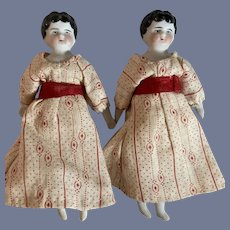 Antique Doll Miniature Twins China Head Dollhouse SET