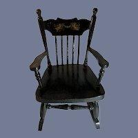 Antique Wood Doll Rocking Chair W/ Cherub's Sweet