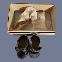 Old Doll Shoes Oil Cloth W/ Socks Straps