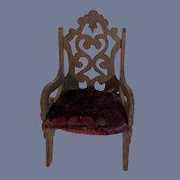 Wonderful Ornate Miniature Wood Doll Chair Dollhouse