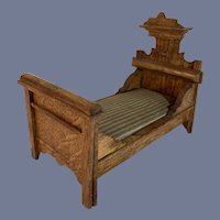 Antique Miniature Ornate Doll Dollhouse Wood Carved Bed German