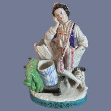 Antique Staffordshire Figurine Boy W/ Dog Doll Wonderful