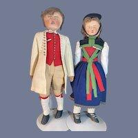 Antique Wonderful Stockinette Doll Set Pair In Original Clothing Rare Unusual TWO Cloth Dolls