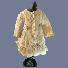 Wonderful Vintage Doll Dress French Market Lace Drop Waist Fancy Bow