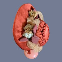 Old FAB Doll Bonnet Hat French Market Silk W/ Bows Lace Flowers