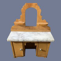 Antique Doll Miniature Wood and Marble Doll Chest Desk Dollhouse