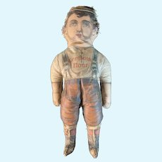 Antique Cloth Doll Ceresota Flour Doll Printed Oil Cloth Doll Advertising
