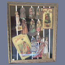 Antique Paper Dolls W/ Clothing Framed Myra Mild The Bride Bridal Party McLoughlin Brothers WONDERFUL