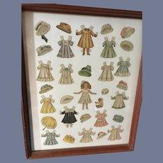 Wonderful Paper Doll Set W/ Tons of Clothing Framed Lettie Lane Huge Wardrobe