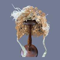 Old Straw Doll Bonnet FANCY W/ Feathers Flowers French Market