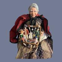 Wonderful Large Porcelain Peddler Doll W/ Large Basket of Miniatures Antiques Vintage Artist WONDERFUL