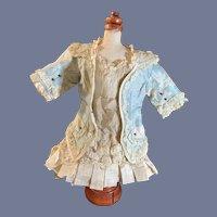 Antique Doll Dress French Market WONDERFUL Lace Silk Fancy