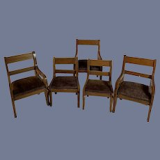 Antique German Biedermeier Set of 5 Dollhouse Furniture Chairs