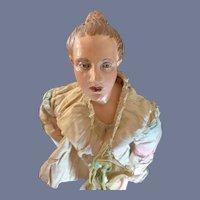 Antique Crech Doll  Wonderful Enamel Eyes Carved Hair Wood and Gesson Neopolitan