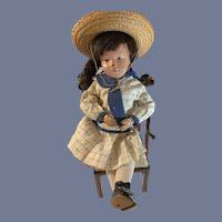 Antique Doll Schoenhut Wood Carved Jointed Character Doll Dressed Sweet