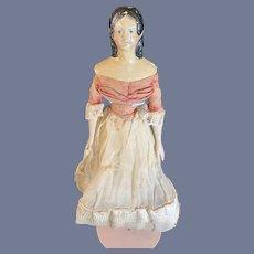 """Antique Doll Papier Mache & Wood Milliner's Model Fancy Hair Style Original Clothes 10"""""""