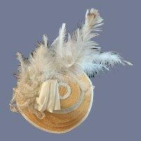 Old Doll Straw Hat Bonnet Fancy Feathers Wonderful