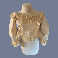 Wonderful Old Doll Top W/ Lace Trim and Hand Painted Pearl Buttons Fashion Doll French Market