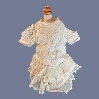 Antique Doll Dress French Market Lace Netting Tassels Wonderful