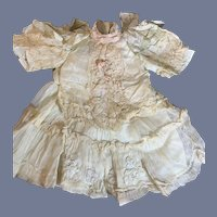 Antique Doll Dress French Market Gorgeous Lace Flowers Bows on Shoulders Embroidery Lace