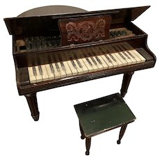 "Antique Schoenhut Baby Grand Piano Child Sized 18.5"" tall"