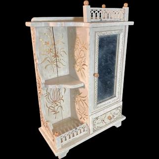 "Antique Doll Paul Leonhardt French Market Doll Dollhouse Miniature Ornate Creme Gilt Wardrobe W/ Mirror 8"""