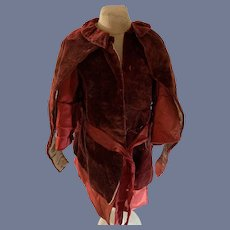 Antique Doll Dress W/ Velvet attached Cape Ribbon Tie French Market