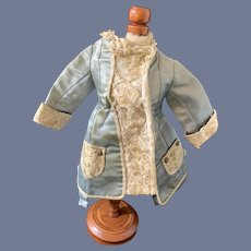 Antique Doll Dress French Market Embroidery Lace Faux Coat Drop Waist Metal Buttons