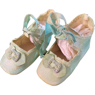 Old Doll Oil Cloth Doll Shoes Lace Up Wonderful