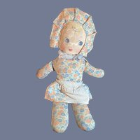Old Oil Cloth Doll With Pattern Cloth Body and Apron