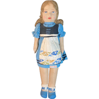 """Old Doll Cloth England  Glass Eyes Original Clothing Jointed Charming 15 1/2"""" Tall"""