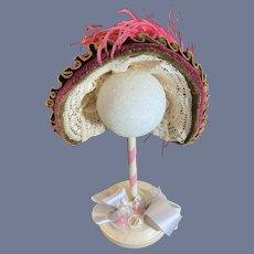 Wonderful Doll Fancy Hat Bonnet French Market Signed