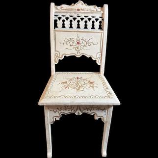Antique Doll Fancy Miniature Doll Chair Paul Leonhardt Gorgeous French Market Dollhouse Furniture