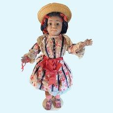 """Wonderful and Rare All Original Simon & Halbig Black Character Doll 18"""""""