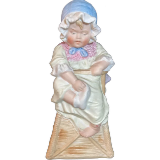 """German Bisque Figural Baby in High Chair 8"""""""
