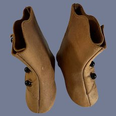 Antique Leather Button Up Doll Boots Shoes W/ Heel