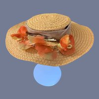 """Wonderful Straw Doll Bonnet Hat W/ Flowers and Fancy Bow Betty Kent """"The Mad Hatter"""" Tagged Wide Brim"""