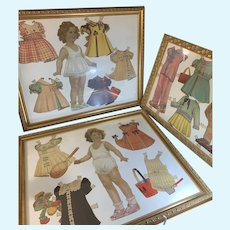 Old Paper Dolls HUGE LOT Framed Shirley Temple  W/ Outfits THREE FRAMES Wonderful