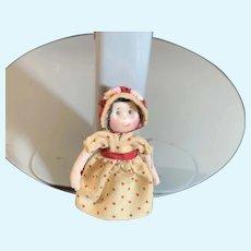Vintage Miniature Artist Doll Dollhouse Dressed W/ Smirk