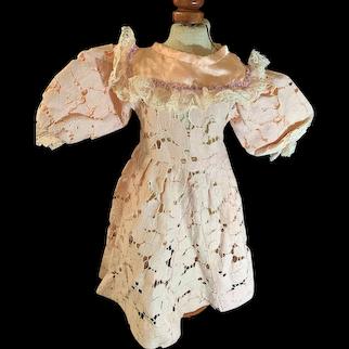 Old Doll Dress Lace W/ Flowers Sweet