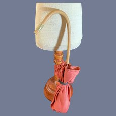 """Sweet Old Bamboo Handle Doll Parasol Faux Umbrella Petite Size 9"""" Display"""