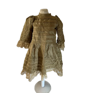 Wonderful Antique Silk Lace Doll Dress French Market