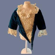 Wonderful Doll Jacket Old Inserted Embroidery Lace Velvet Wonderful French Market